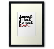 James & Sirius & Remus & X. Framed Print