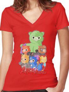 Alpacas Assemble Women's Fitted V-Neck T-Shirt