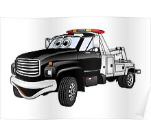 Black Silver Tow Truck Cartoon Poster