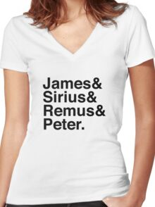 James & Sirius & Remus & Peter. Women's Fitted V-Neck T-Shirt