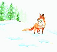 Fox in the snow by Atomicstrick9