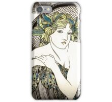 """Appropriation of Alphonse Mucha's """"Woman with Poppies"""" 1898 Crossed sepia and colour iPhone Case/Skin"""