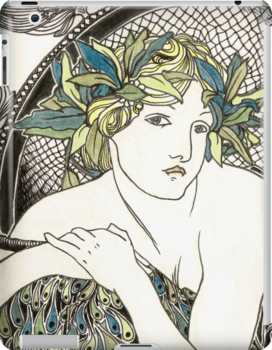 "Appropriation of Alphonse Mucha's ""Woman with Poppies"" 1898 Crossed sepia and colour by Ashleia Hoskin"