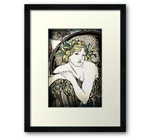 """Appropriation of Alphonse Mucha's """"Woman with Poppies"""" 1898 Crossed sepia and colour Framed Print"""