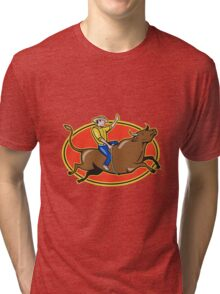 Rodeo Cowboy Bull Riding Retro Tri-blend T-Shirt