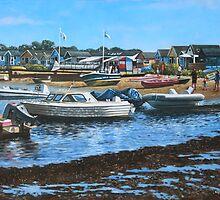 christchurch hengistbury head beach with boats by martyee