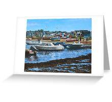 christchurch hengistbury head beach with boats Greeting Card