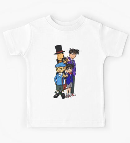 Case Closed x Professor Layton comic colours Kids Tee