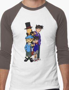Case Closed x Professor Layton comic colours Men's Baseball ¾ T-Shirt