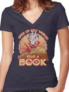 Read a Damn'd Book Women's Fitted V-Neck T-Shirt