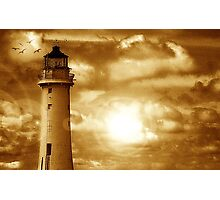 Lighthouse Collaboration in Brown Photographic Print