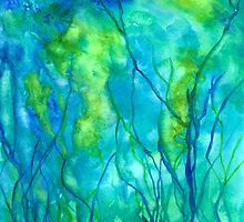 Ocean Wonder Watercolor Abstract by Rosie Brown