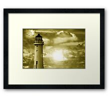 Lighthouse Collaboration in Yellow Framed Print