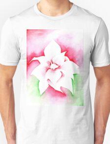 'Red Poinsettia' Christmas design - Aquamarkers. Unisex T-Shirt