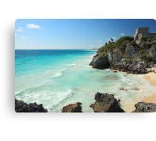Tulum Ruins Seascape Canvas Print