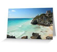 Tulum Ruins Seascape Greeting Card