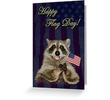 Flag Day Raccoon Greeting Card