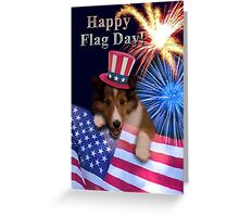 Flag Day Sheltie Puppy Greeting Card