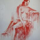 Sitting nude by Julia Lesnichy