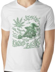 Wise Weed Wizard Mens V-Neck T-Shirt