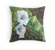 Bell Vine Flowers - Aquamarkers. Throw Pillow