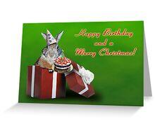 Birthday And Christmas Bunny Rabbit Greeting Card