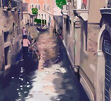 Venice canal with gondolas and gondoliers by kavunchik