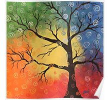Whimsical tree of color Poster