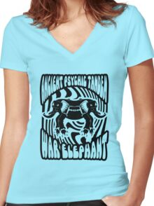 Ancient physic tandem war elephant Women's Fitted V-Neck T-Shirt