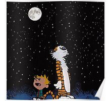 calvin and hobbes night sky  Poster