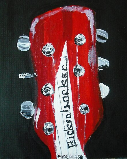 Rickenbacker Headstock Guitar Fine Art Acrylic Painting by JamesPeart