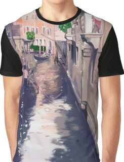 Venice canal with gondolas and gondoliers Graphic T-Shirt