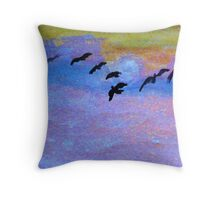which way are they going? watercolor Throw Pillow