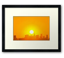Sunrise on LA downtown. Framed Print