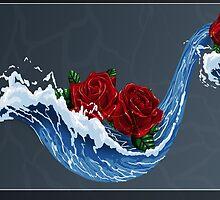 Waves n' Roses Card by Germandark