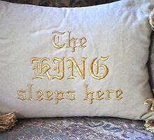 PILLOW ART-THE KING SLEEPS HERE-SERIES 4 by JAYMILO