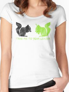 """Alien Space Squirrel """"Take Me To Your Leader"""" Women's Fitted Scoop T-Shirt"""