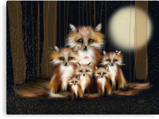 Fox Family by © Karin Taylor