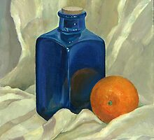 Still life with the Blue bottle and an Orange by Nonna Mynatt