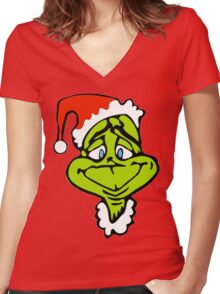 Santa The Grinch Christmas Women's Fitted V-Neck T-Shirt