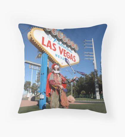 Juggling Jester in Las Vegas Throw Pillow