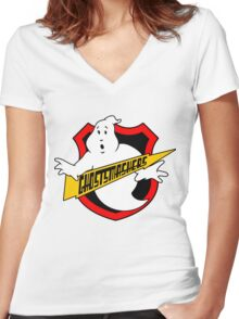 Ghost Smashers Redux Women's Fitted V-Neck T-Shirt