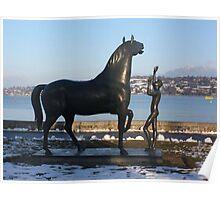 """""""L'homme et le cheval"""" - a statue by Schwarz. Parc Mon-Repos,  Geneva, Switzerland Poster"""