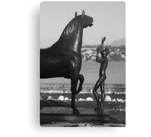 """""""L'homme et le cheval"""" - a statue by Schwarz. Parc Mon-Repos, Geneva, Switzerland  Canvas Print"""