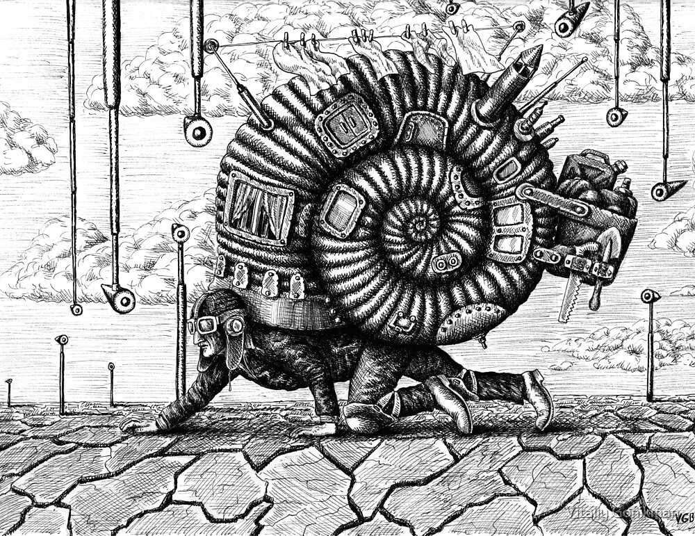Life in the Shell surreal ink pen drawing by Vitaliy Gonikman