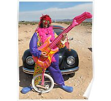Clown, Unicycle & Guitar Poster