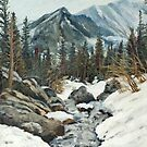 Landscape Painting - Mountain Stream - 24&quot; x 18&quot; Oil by Daniel Fishback