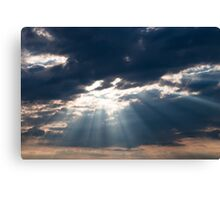 Sun shining thru clouds Canvas Print