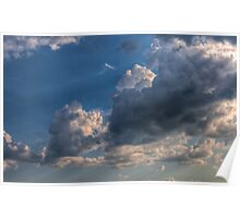 Cumulus clouds with rays of sun Poster