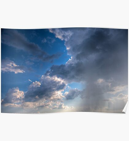 Raining clouds with rays of light shining through Poster